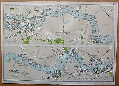 1912 Ca LARGE MAP-THE RIVER THAMES WHARVES WOOLWICH TO TILBURY & GRAVESEND