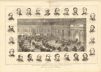 1873 Antique Print- United States Senate Chamber With Portraits Of Some Members