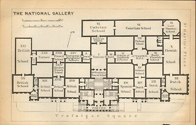 1911 - Antique Map - London - Plan, The National Gallery
