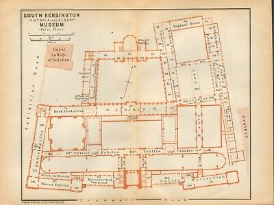 1911 - Antique Map - London - Plan, South Kensington (V&A) Museum, First Floor