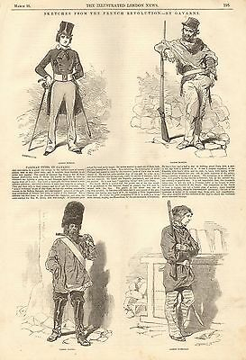 1848 Antique Print- Characters From The French Revolution Bt Gavarni