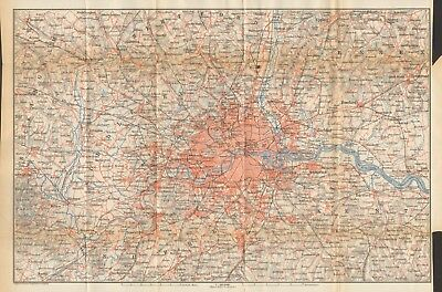 1911 - Antique Map - London - Environs, Chesham, Chobham, Brentwood, Farnborough