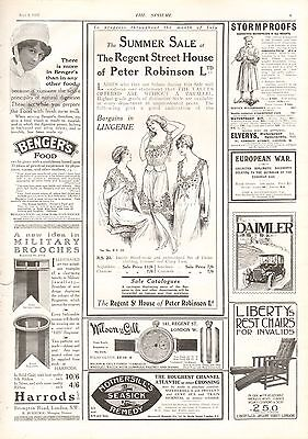 1915 Antique Print - Adverts- Peter Robinson, Lingerie, Liberty's Chairs,Bengers
