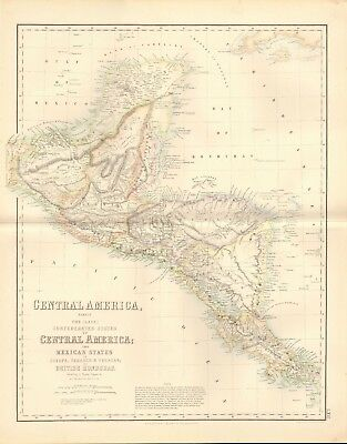 1874 ca LARGE ANTIQUE MAP- MACNAB -CENTRAL AMERICA ACCORDING TO SQUIER, KEIPERT