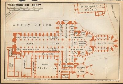 1911 - Antique Map - London - Plan, Westminster Abbey
