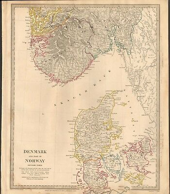 1833 Antique Map- Sduk - Denmark And South West Norway