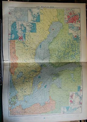 1915  Large Antique Mercantile Map - The Baltic Sea, 15 Insets
