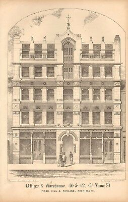 1866 Antique Architecture, Design Print- Offices & Warehouse, Gt Tower St, Londo