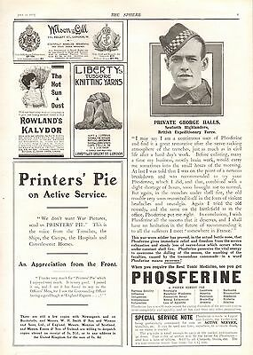 1915 Antique Print - Adverts- Phosferine (Seaforths),Liberty's Yarns,Rowlands Ka