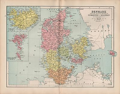 1875 Antique Map - Denmark Schleswig-Holstein Inset Iceland, Faroe Islands