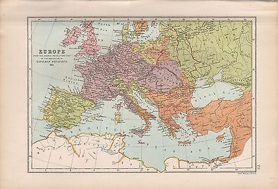 1875 Antique Map - Europe French Revolution To Bonaparte, 1793-1815