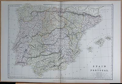 1882 Large Antique Map - Spain And Portugal