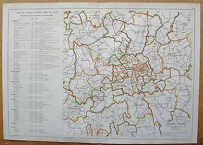 1912 Ca LARGE MAP-BACON - LONDON & SUBURBS- UNIONS, AREAS, POPULATIONS & WORKHOU