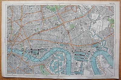 1912 Ca LARGE SCALE BACON STREET MAP- LONDON - BETHNALL GREEN POPLAR ROTHERHITHE