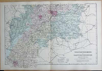 1891 Large Victorian County Map - Worcestershire And Gloucestershire South