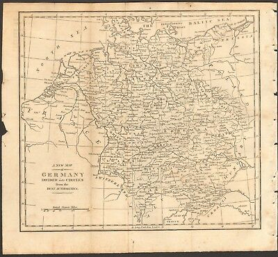 1807 Antique Map- A New Map Of Germany Divided Into Circles From The Best Author
