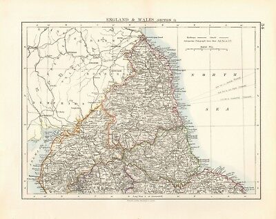 1897 Antique Map- Johnston - England -Section 1-Cumberland,Northumberland,Durham
