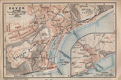 1910 Baedeker Antique Map- Uk-Town Plan, Dover