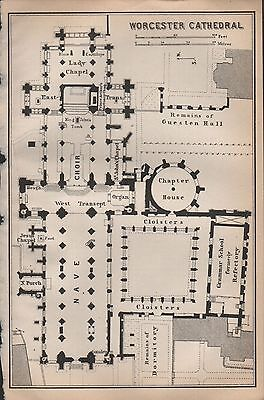 1910 Baedeker Antique Map- Uk-Cathedral Floor Plan-Worcester