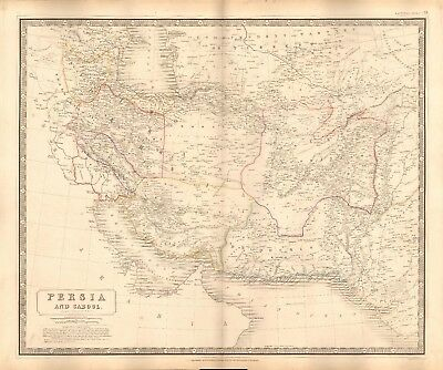 1844 Large Antique Map- Johnston - Persia And Cabool