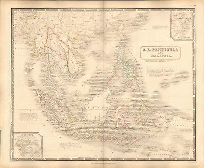 1844 Large Antique Map- Johnston - South East Peninsula And Malaysia