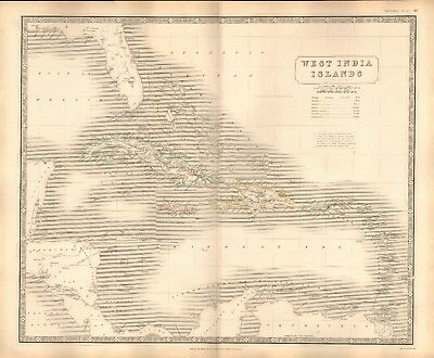 1844 Large Antique Map- Johnston - West India Islands With European Possessions