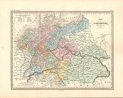 1880 Ca ANTIQUE MAP- MALTE-BRUN- GERMANY IN 1789