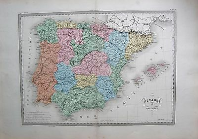 1880 Ca ANTIQUE MAP- MALTE-BRUN- SPAIN AND PORTUGAL