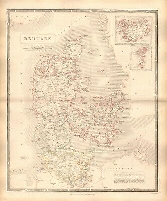 1844 Large Antique Map- Johnston - Denmark, Iceland, Faroe Isles