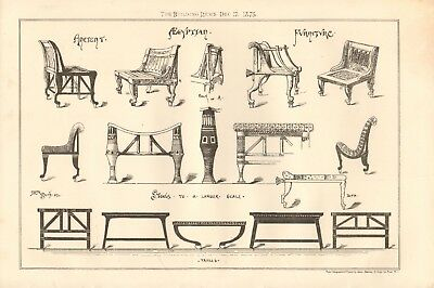 1875 Antique Print- Architecture - Ancient Egyptian Furniture