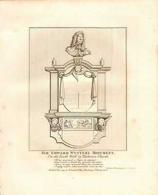 1794 Antique Print- Architecture -London - Sir Edward Wynter's Monument,Batterse
