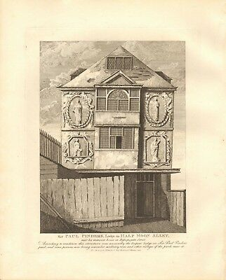 1791 Antique Print- Architecture- London - Sir Paul Pinders Lodge, Half Moon All