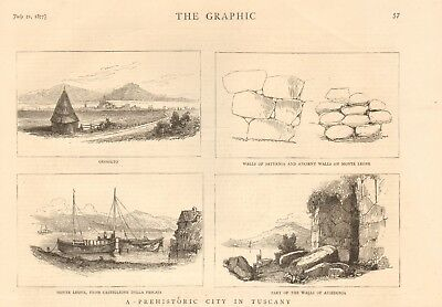 1877 Antique Print- Italy - A Prehistoric City In Tuscany