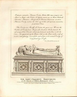 1794 Antique Print- Architecture -London - Sir John Crosby's Monument, St Helen