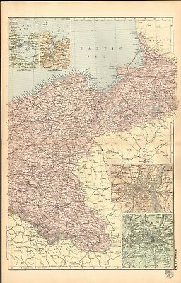 1893 Antique Map - Germany North East, Strasburg, Metz, Kiel, Wilhelmshaven