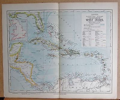 1883  Large Antique Map The Antilles Or West Indies