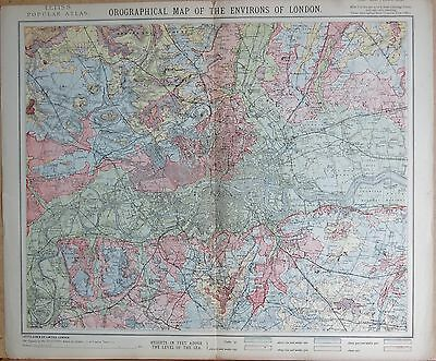 1883  Large Antique Map Orographical Map Of The Environs Of London