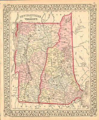 1874 Antique Map - Usa - New Hampshire And Vermont