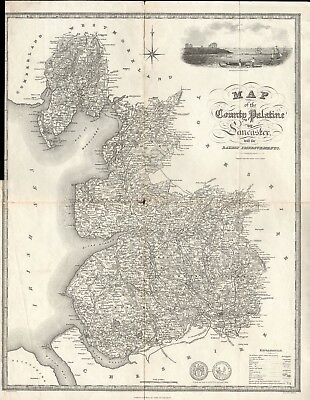 1824 Antique Map -Map Of County Palatine Of Lancaster - Baines Lancashire