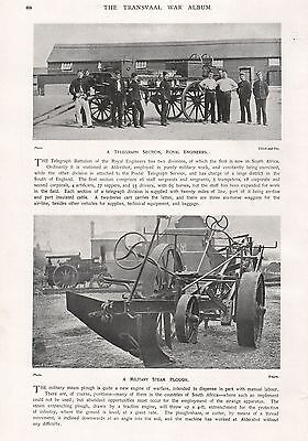 1900 Antique Print-Boer War- Royal Engineers,Telegraph Section,Steam Plough