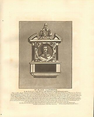 1791 Antique Print- Architecture- London - Monument At St Mary, Lambeth