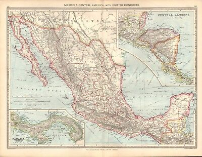 1907  Large Antique Map - Mexico & Central America With British Honduras