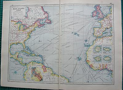 1920 Map World War 1- North Atlantic Ocean, Steamship Routes, Cables