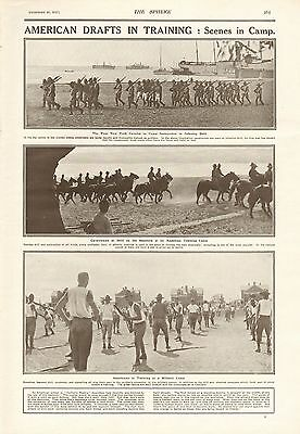 1917 Antique Print- Ww1 - American Drafts In Training