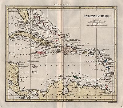 1816 Antique Map Walker Hand Coloured West Indies