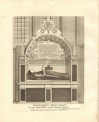 1794 Antique Print- Architecture- London - Plowden's Monument, Temple Church