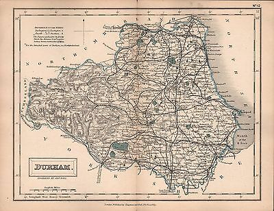 1860 Hall County Map Railways - Durham, Yarm, Walsingham, Durham, Sth Shields
