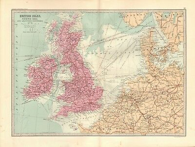 1890 Antique Map - British Isles, North Sea And Adjoining Countries