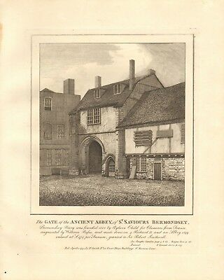 1794 Antique Print- Architecture- London - Gate, St Saviour's. Bermondsey