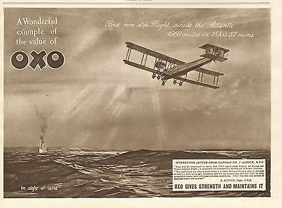 1919 Antique Print- Advert-Oxo-First Non Stop Flight Across The Atlantic